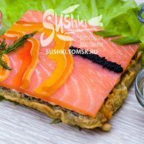 Суши-пицца с копченым лососем
